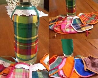 Tablier pour bouteille en madras recto verso, pour décorer vos tables de fêtes