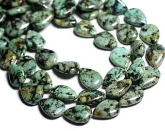 2PC - stone beads - African Turquoise drops 18x13mm - 4558550092977