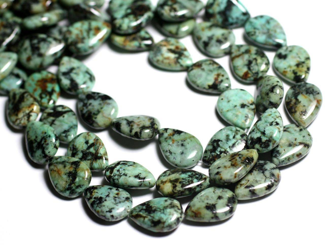 2pc perles de pierre turquoise d 39 afrique gouttes. Black Bedroom Furniture Sets. Home Design Ideas