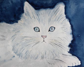 Original illustration painted in watercolor on ARCHES 300 g/m²petit white cat
