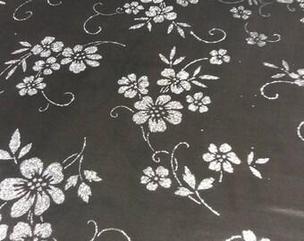 gorgeous chiffon floral pattern black sequin silver 150 cm width