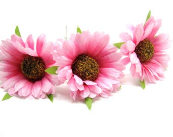 3 pink daisies 5 cm on stems artificial silk gerbera daisy