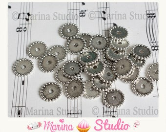 large 10 spacer beads silver metal washers N26947 12mm Tibetan