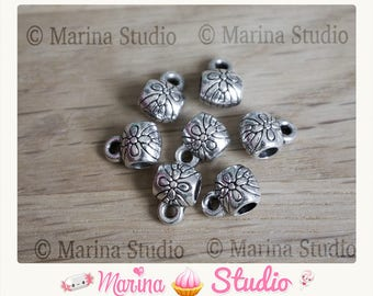 10 beautiful Silver bails with flowers engraved 9mm