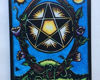 "Giclee Ace of Pentacles 8"" x 10"" Canvas Print from the World Spirit Tarot"