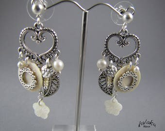chips, mother of pearl earrings, Crystal