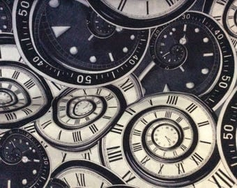 Black and white clocks and gauges, Man Cave 05378 12 from Kanvas Studio fabric