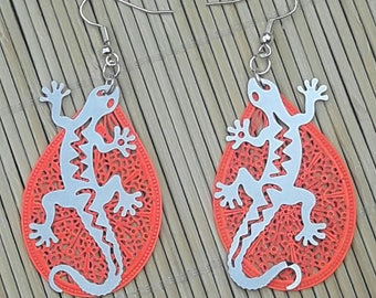 Silver and orange gecko lizard salamander earrings