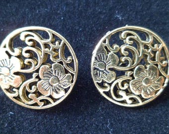 6 flowers 19 mm Gold Metal sewing buttons