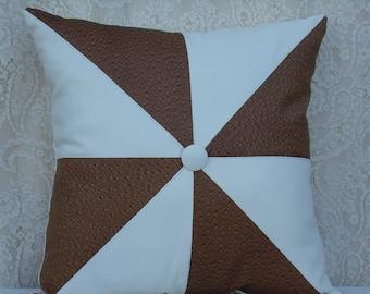 decorative pillow spinwheel throw pillows faux leather pillow decorative pillows brown pillows
