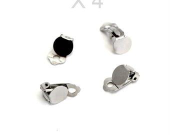 Earrings clip silver brass X 4 pieces
