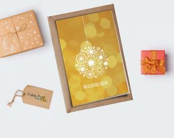 Christmas card / ball gold greeting card