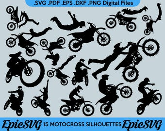 15 Motocross Riders | .SVG .PDF .EPS .dxf .png | Dirtbike Vector Graphic Silhouette Cameo Cricut Clipart