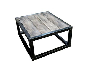 Table coffee aged wood and brushed steel style Loft / industrial