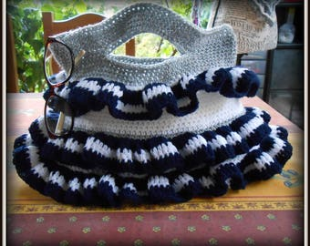 bag crocheted acrylic white gray and blue with Ruffles