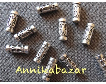 Set of 25 beads 13 x 5 mm silver Tibetan style