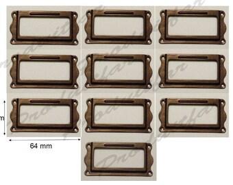 Set of 10 door label black lacquered filing drawer furniture business locker 64 * 31