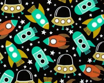 Black retro Miller space rocket patchwork fabric