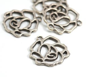 5 charms / medallions small Rose - 23 x 21 mm - color obsolete money