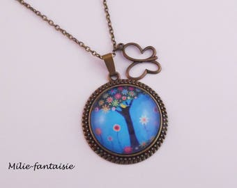 Necklace - bronze with cabochon 30mm blue tree of life long necklace