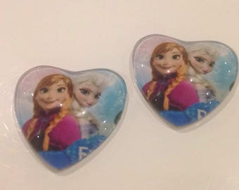 Set of 2 cabochon 25mm snow Queen