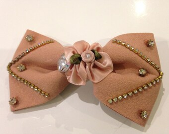 applique bow fabric and rhinestones with clip 10.5 x 6 cm