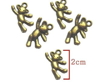 Bronze bear charm pendant. Size 10X20mm to create a pendant, bracelet.. .bijoux. Set of 5Pcs