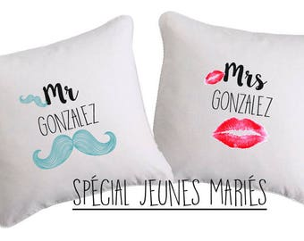SET of 2 young married custom CUSHIONS