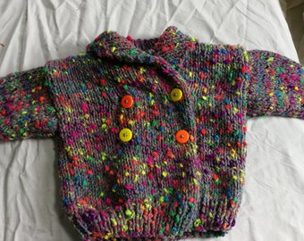 Paletot 6 mois gris chiné multicolore fluo tricoté main