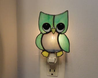 Stained Glass Owl Night Light