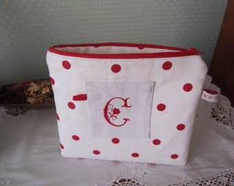 "Small case all linen, red Monogram ""C""!"