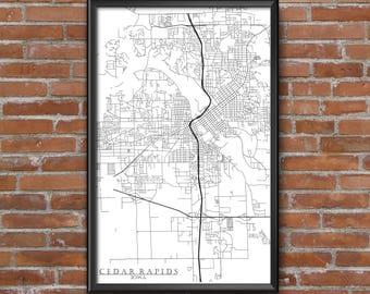 Cedar Rapids, Iowa Map Art