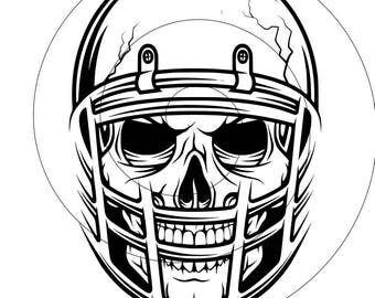skull and football helmet