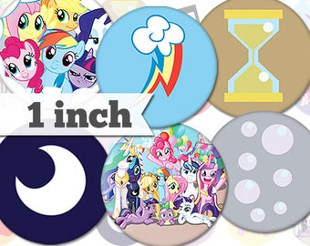 1 inch - My Little Pony Cutie Marks - 20 Images - Printable INSTANT DIGITAL DOWNLOAD - Buttons, Collage Sheet, Bottle Caps, Magnets - a023