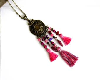 Ethnic necklace bronze purple, pink, purple, fuchsia, tassels, leaves, long necklace, summer, ethnic