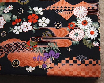 Fabric Japanese traditional flower pattern on bottom black 110 * 50 cm