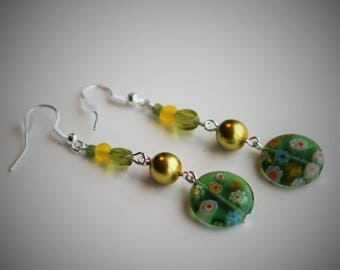 Millefiori earrings / Green