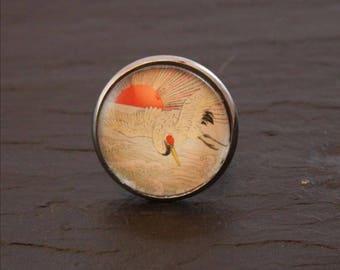 Japanese ibis cabochon ring