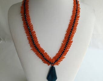 Handmade agate gemstone necklace.