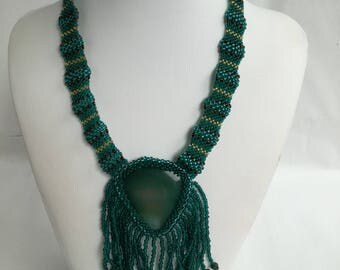 Handmade necklace with green agate gemstone and beads!