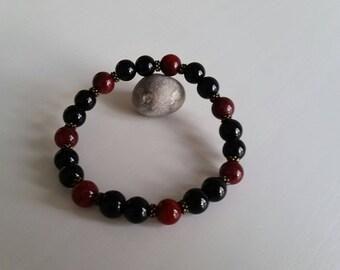 Bracelet Onyx and Jade masham (8 mm beads)