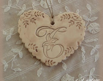 Ceramic heart lace, shabby chic style, color beige linen, original ' love you