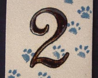 Original beige door number, number '2' and deco cat paws