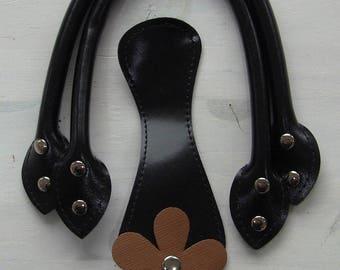 bag handles, handles of bag has handles, black faux leather for purse handles