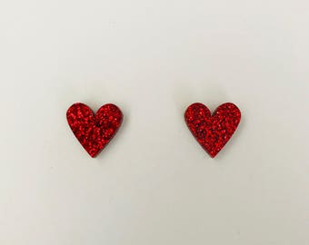 Red Glitter Sweet Heart Studs