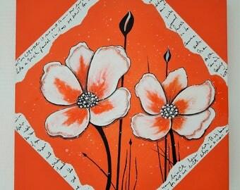 """Tableau contemporain """" Fleurs """" effet parchemin"""
