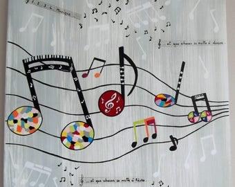 """Tableau """" Musique en Folie """" sur COMMANDE"""