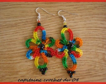 tatting lace earrings multicolor tatted jewelry handmade