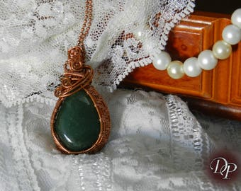 "Pendant ""Honorine"" wire wrapping and Aventurine stone"