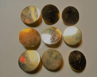 9 antique metal buttons gold